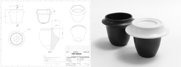 Plans and finished ceramic cup
