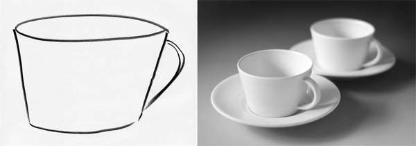Drawing and finished ceramic cups