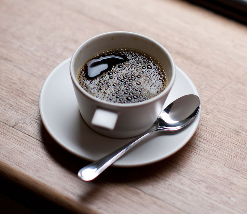Ceramic cup in use