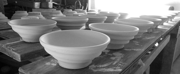 Ceramic bowls awaiting firing